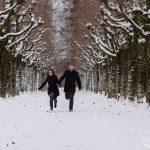 Paar rennt in Baumallee