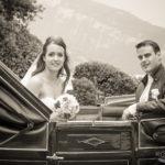 Hochzeitspaar in Kutsche